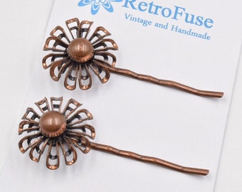Copper daisy hair pin, vintage daisy hair pin, copper flower bobby pins, vintage flower bobby pins, copper hair clips