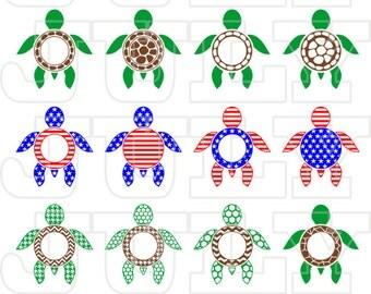 Turtle Monogram Frame, Turtles SVG Cut Files, Turtle svg, SVG,  dxf, ai, eps, png, Sea Turtle svg, Monogram SVG, Patriotic Turtles svg