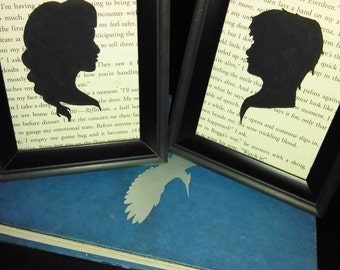 3x5 Katniss and Peeta Hand-Painted Silhouette Mockingjay Upcycled Wall Art Pair