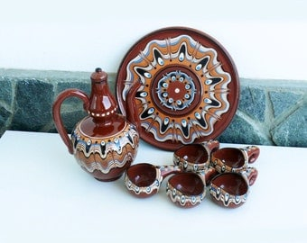 Vintage Trojan Redware Pottery Decanter, Set with Ewer Pitcher, five Cups and plate-tray, Bulgarian Folk Design