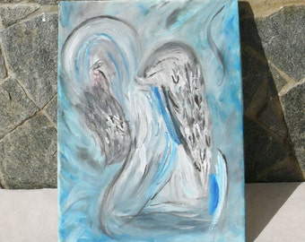 "Beautiful Picture Painted on Canvas with Tempera Paints - ""Weeping Angel""!"