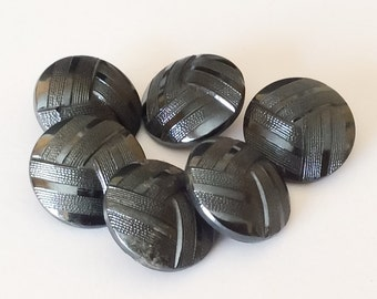 Metallic luster vintage glass button lot-6 pc