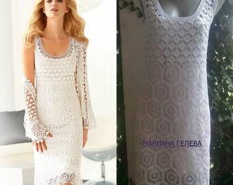 Blanc élégant robe féminine / crochet main / sur commande