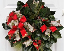 Traditional Christmas Wreath - Evergreen Holiday Wreath - Christmas Door Wreath - Holiday Decor - Seasonal Wreath - Housewarming Gift Idea