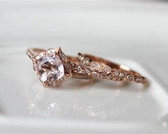 14k rose gold morganite ring set bridal set vintage floral morganite engagement ring diamond - Morganite Wedding Ring Set