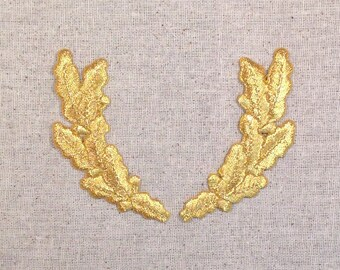Gold - Pair Scrambled Eggs - Military Uniform - Iron on Applique - Embroidered Patch 693230B