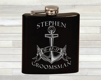 Personalized Anchor Theme Flask - Wedding Flask - Bridal Party - Best Man Gift - Custom Groomsman Flask
