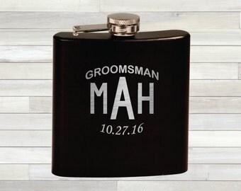 Monogram Flask. Personalized Groomsman Flask. Groomsman Flask. Best Man Gift. Wedding Flasks. Bridal Party Gift. Custom Flasks