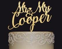 Personalized MR&MRS Wedding Cake Topper,  Wedding Cake Decor, Anniversary - Bridal Shower - Wedding Gift, Valentine Day Cake Topper
