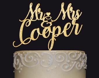 MR-MRS NAME Personalized Cake Topper-Wedding-Anniversary-Valentine Cake Topper-Wedding Keepsake-Photo Prop-Rustic Chic Wedding, Cake decor