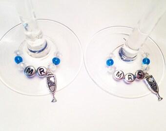 Mr & Mrs Wine Glass Charms Set (2)