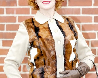 RCMooreVintage  faux pony fur hide cardigan vintage 1960 size 8 FREE SHIPPING