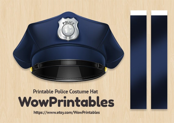 Police Costume Hat PRINTABLE Download easy to make