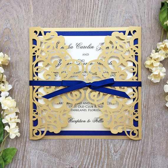 KIESHA - Laser Cut Wedding Invitation - Metallic Gold Gatefold with Royal Blue Accent Layer and Ribbon Bow - Custom Colors Available