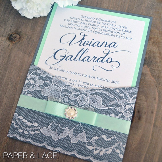 VIVIANA - Lace Pocket Quince Invitation - Charcoal Grey and Mint Green Invite with Pearl Button - Quinceañera - Sweet Sixteen Invitation