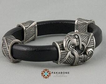 Viking Bracelet Wristband Mens Womens Leather Bracelet with Odin's Ravens Huginn Muninn Silvered Bronze art. 000-881