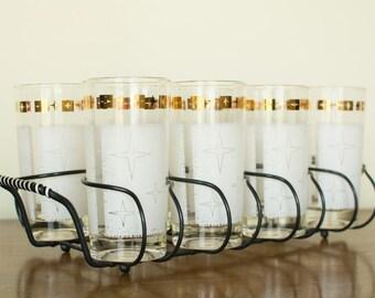 Mid Century Modern Starburst Drink Set w/Caddy - Set of 8