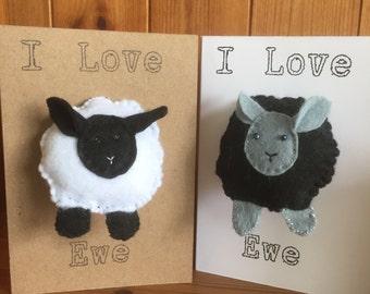 Handmade 'I Love Ewe' Card with Felt Sheep keyring