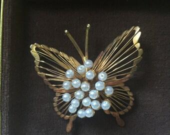 Vintage Pearl Butterfly Brooch