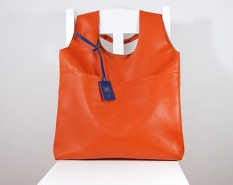 Exclusive Huge Genuine Leather Tote Minimalistic Style With Purse Orange Color