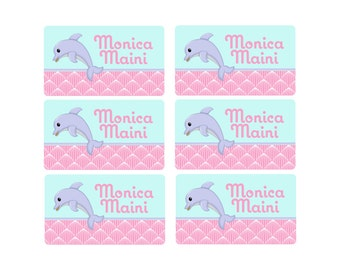 95ct Stick On Clothing Name Labels,  Kids Clothing Labels, Personalized Name Labels, Baby Clothing Labels Sweet Dolphin, Washable Name Label