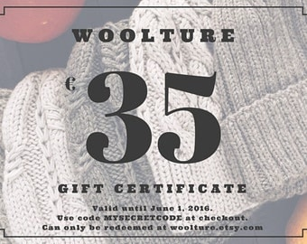 Digital Gift Certificate / 35 Euro Gift Card / Last Minute Gift / Mother's Day Gift