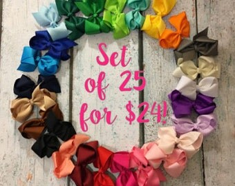 10% OFF!! 4-inch bows - Set of 25- Bow Clips, Alligator Clips, Girl Bows, Cheap Bows, Baby Bows, Dollar Bows, Little Girl Bows, Hair Bows