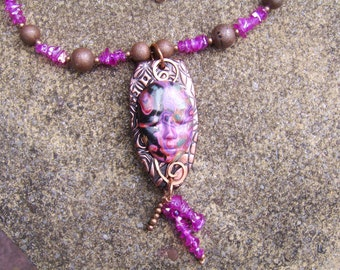 Polymer Clay Face Pendant. Polymer Clay Necklace. Statement Necklace. Mokume Gane Pendant . Beaded Necklace. Face Jewellery. Bright Pink .