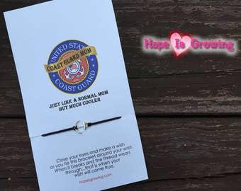 Coast Guard Mom Friendship Wish Bracelet and Greeting Card