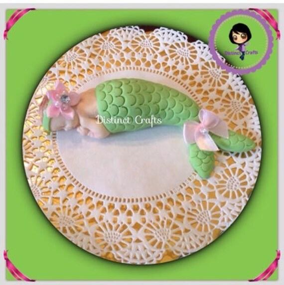 mermaid baby cake topper baby shower cake topper gumpaste fondant