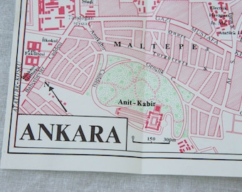 1968 Ankara Turkey Vintage Map