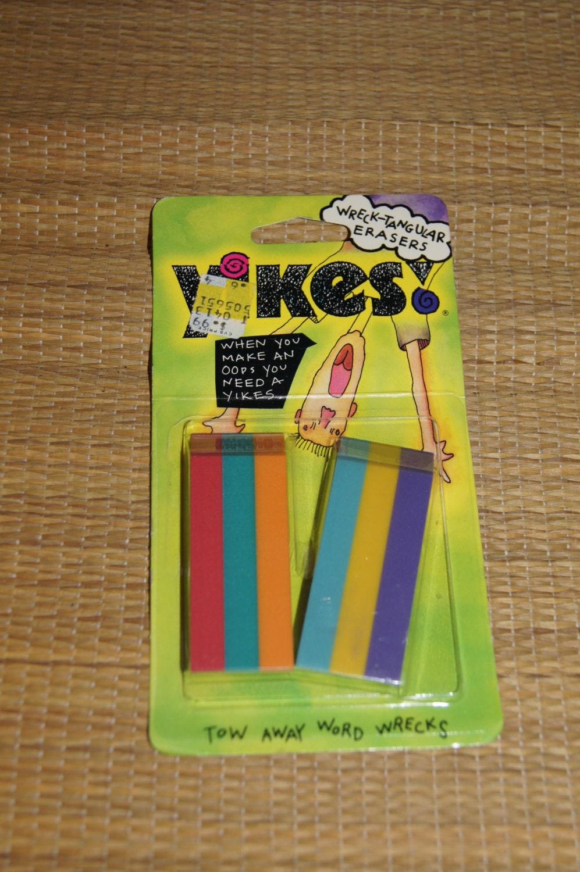 Vintage 1990 S Nip 2 Pack Of Yikes Erasers Striped