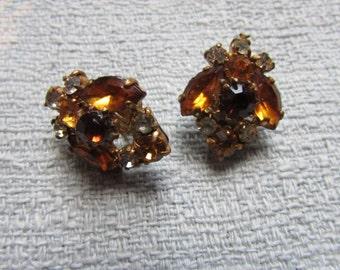 1950s citrine/amber crystal & diamanté clip-on earrings