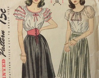 Simplicity 1559 vintage 1940's misses peasant blouse, skirt & belt sewing pattern size 14 bust 32