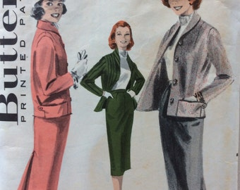 CLEARANCE!!  Butterick 7901 misses suit jacket & skirt size 12 bust 32 vintage 1950's sewing pattern
