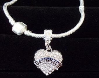 Daughter Bracelet Daughter gift Best daughter gift Crystal heart charm on European style bracelet Kids sizes available