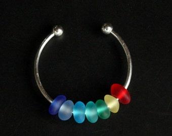 handmade rainbow sea beach glass beads bracelet bangle