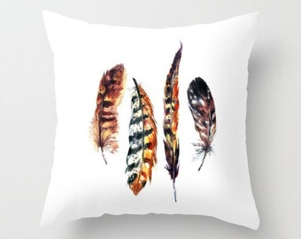 Feather Pillow Gold Feathers pillow cover gold orange brown decorative throw pillows bohemian home decor boho pillow tribal pillow feathers