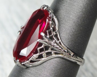 Vintage 14k Gold Filigree Ring White Gold Ruby Red Stone Ring 1940's July Birthstone Ring Size 5.75