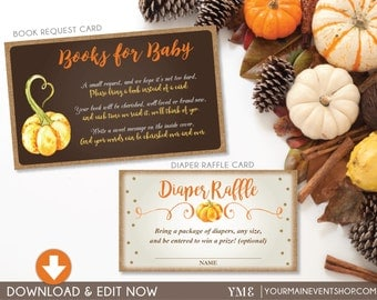 Fall Pumpkin Book Request Card and Diaper Raffle Ticket Bundle • Fall Autumn Pumpkin Baby Shower • Instant Download Printable BS-F-02