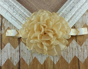 Gold flower headband, gold singed flower, flower headband, 16 inch headband, elastic headband, girls headband, children's headband, headband