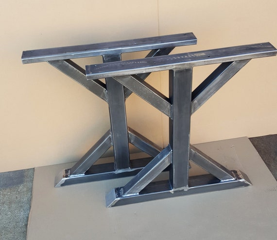 Trestle table legs heavy duty sturdy metal legs by dvametal for Dining table with metal legs
