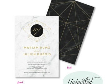 Marble Engagement Invitation, Marble Invitation, Invites, engagement invite, engagement invitation