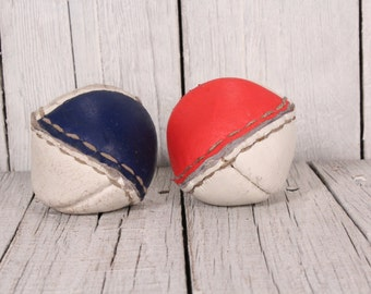 Leather balls set of 2 - Physical education balls - Vintage leather balls - Medicine Balls - Weight ball - Leather and sand balls