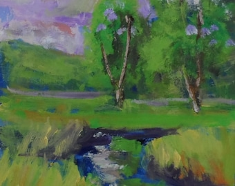 original 5x7 oil painting modern impressionist landscape, green, purple,clouds, nature,contemporary,plien air, stream, senery