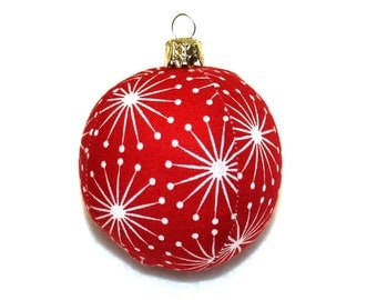 Christmas red white 6 cm retired stitched unbreakable bauble Christmas tree ball