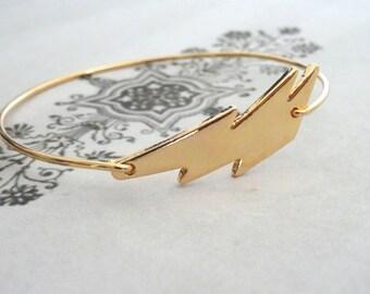 Lightning Bolt Bracelet Large Gold Slip on Bangle Storm Jewelry PeculiarCollective Inv0153