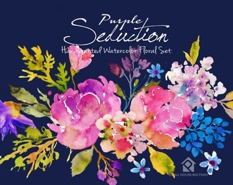Watercolour Flowers - Hand Painted watercolor floral Clip Art - Purple Seduction Bouquets