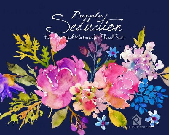 Watercolour Flowers - Hand Painted watercolor floral Clip Art - Purple Seduction Bouquets