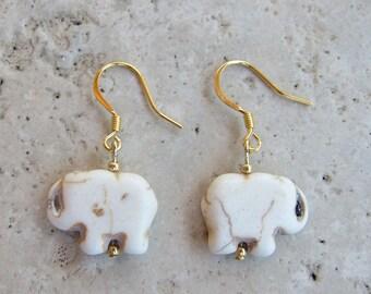 """White stone """"good luck"""" elephant earrings"""
